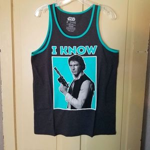 """NWOT Star Wars Han Solo """"I Know"""" Muscle Tee/Tank M"""